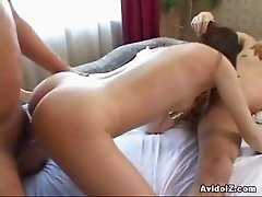 Sexy Japanese babe double blowjob and hot sex
