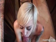 Blonde slut takes big dick in mouth in POV