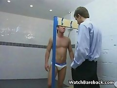 Office guys sucking cock and fucking barebacked in the offices public shower