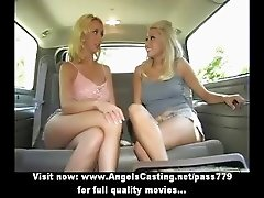 Stunning superb blonde lesbian girls undressing and kissing