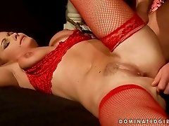 Busty MILF gets tied up and punished