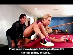 Blonde dancer chick undressing and doing blowjob and fucked hard