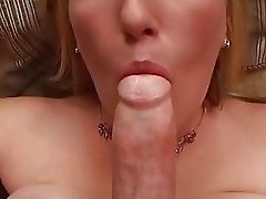 Tempting blonde with big tits gives hard cannon blowjob in POV