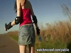 Skater girl pulled and fucked in public