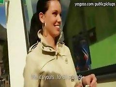 Pretty amateur brunette Czech girl slammed for money