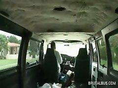 Tempting amateur gets facial cummed in bus