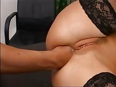 Tight butt fisting on the table