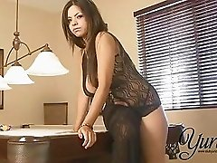Hot Yurizan Beltran playing her big tits and pussy wearing sexy black dress