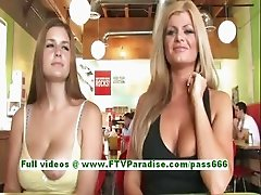 Taryn and Danielle busty women public flashing boobs