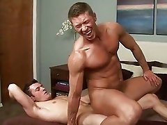Blonde gay hunk rides on top of his lovers fat schlong