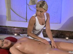 Hot brunette lesbian gets massaged and fingered