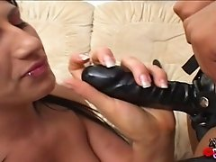 Interracial lesbians strapon play after shaving