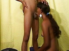 Ball sucking indian teen works for some cock