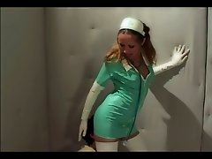 Sexy nurse fucking in latex gloves and stockings