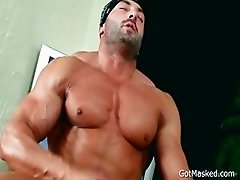 Beafed muscle stud jerking off cock part2