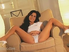 Hot brunette touching herself