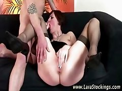 Mature bitch in stockings gets cock