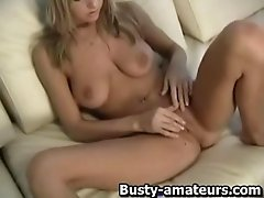 Sammy jerking her shave pussy