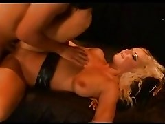 Tanned blonde bitch with big tits gets slammed hard