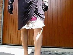 crossdresser upskirt, no panty