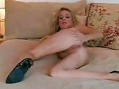 Alluring blonde Julia Crown gets too hot to handle in bed naked and horny