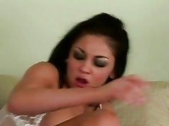 Gorgeously hot Audrey Bitoni gets her cookie smashed in bed by a juicy dick