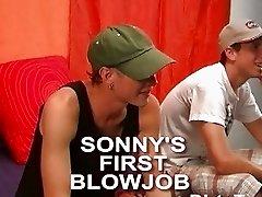 Horny gay twink sucks his first boner