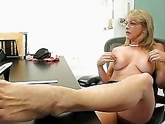 Mature blonde teacher poking her pussy wtih a dildo