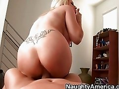 Sinful mega titted blonde babe jerks off huge boner