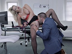 Milf blonde in stockings receives a fine pounding and facial
