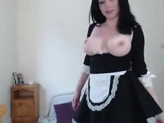 Big titted MILF wore stockings while toying her twat