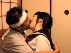 Adorable Japanese teen has an older man banging her cunt