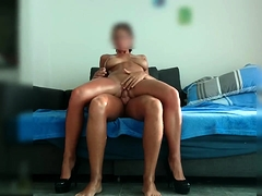 Big breasted milf in high heels jumps on top of a hard prick