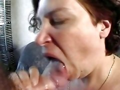 Lush brunette milf from 80s German does awesome deepthroat blowjob and fucks