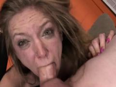 Sad blonde struggles to deepthroat
