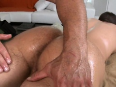 Gay dude is delighting masseur's thick male wang