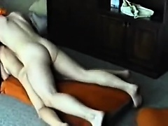Hot brunette fucked about the sofa