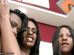 Four ebony shemales in sexy lingerie ride hard black cocks