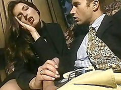 Superb Brunette Strokes Thick Bent Dick Of Suited Guy
