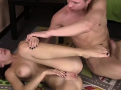 Lovely brunette with big tits gets screwed in the cunt