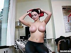 Wet look leggings on pornstar Aletta Ocean