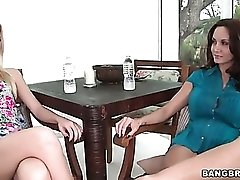 Ava Addams strips naked with a tiny tits girl