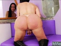 Huge tits tranny Paula D Avila masturbates her hard dick