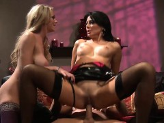 Two ravishing bitches share a massive rod