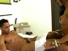 Black tranny gets her mouth fucked and tight anal drilled