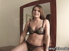 Lingerie babe sucks forbidden cock before sex