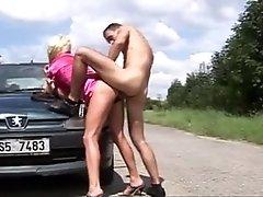 Naked Skinny Freak With Long Cock Fucks Leggy Slut Outdoor!