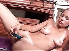 Cute naked milf masturbates her hot pussy