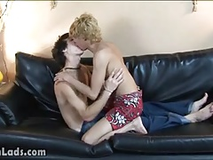 Blond and dark-haired twinks start mouth kissing