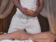Oiled massage beauty fucked on massage table
